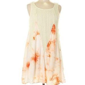 Anthropologie Waffle Knit & Tie Dye Shift Dress